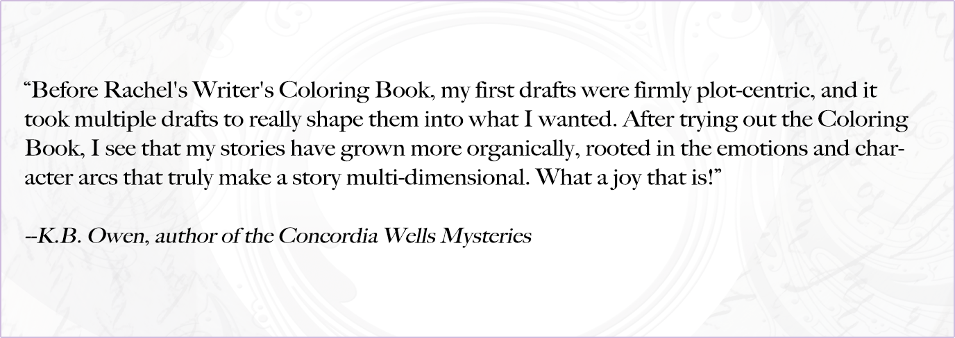 Testimonial by Author K.B. Owen for the Writer's Coloring Book by Rachel Funk Heller